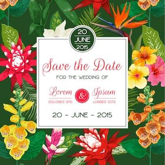 Molde do convite do casamento com tiger lily flowers e folhas de palmeira. economias florais tropicais o cartão de data