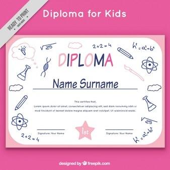 Molde do diploma esboço escola