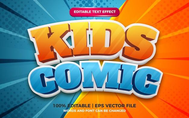 Molde do efeito do estilo do texto editável dos desenhos animados das crianças. fundo de zoom em quadrinhos de meio-tom