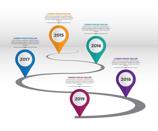 Molde do espaço temporal dos marcos miliários da empresa de infographic.