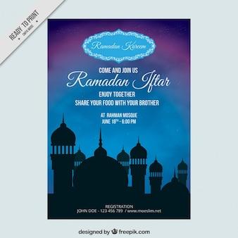 Molde do folheto do iftar do ramadã