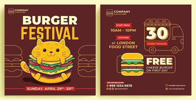 Molde do instagram do feed da promoção do burger festival em estilo de design moderno
