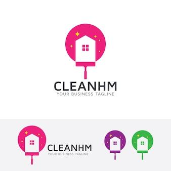 Molde do logo do vetor da casa limpa