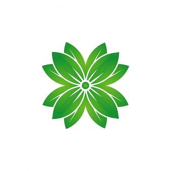 Molde do logotipo da flor verde
