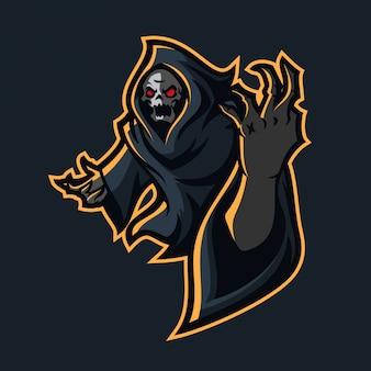 Molde do logotipo da mascote do jogo do reaper do grim reaper