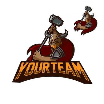 Molde do logotipo da mascote dos jogos do minotaur dos touro