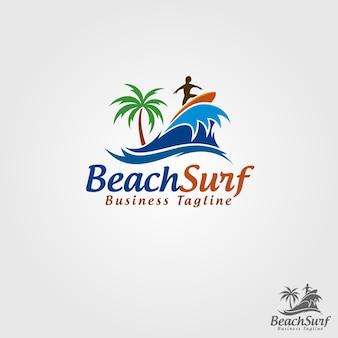 Molde do logotipo de beach surf