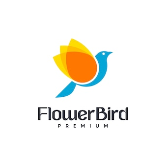 Molde do logotipo do pássaro da flor