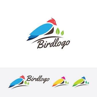Molde do logotipo do vetor do pássaro animal