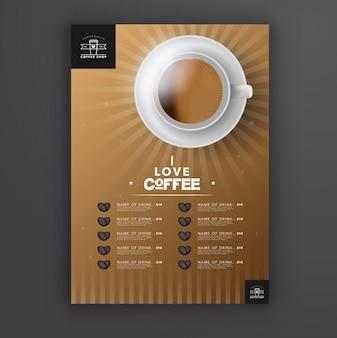 Molde do menu do café