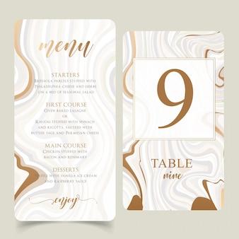 Molde do menu do casamento do ouro e do mármore com números editáveis da tabela
