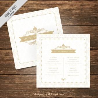 Molde do menu do casamento