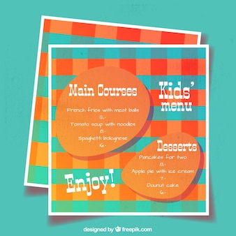Molde do menu do miúdo azul e laranja