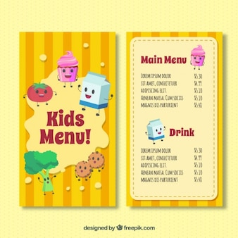 Molde do menu do miúdo com ingredientes felizes