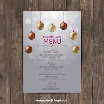 Molde do menu do Natal