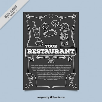 Molde do menu do restaurante com esboços