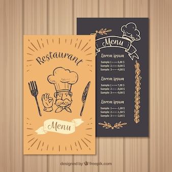 Molde do menu do restaurante com o chef