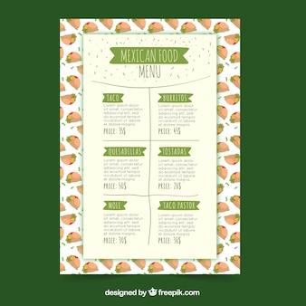 Molde do menu do restaurante em estilo plano