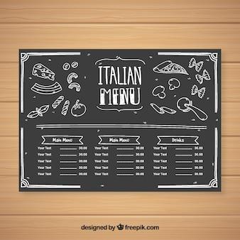 Molde do menu do restaurante em estilo quadro-negro