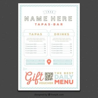 Molde do menu do restaurante em estilo retro