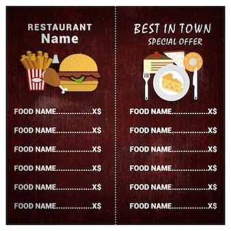 Molde do menu do restaurante