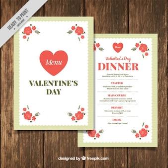 Molde do menu do valentim com flores vermelhas