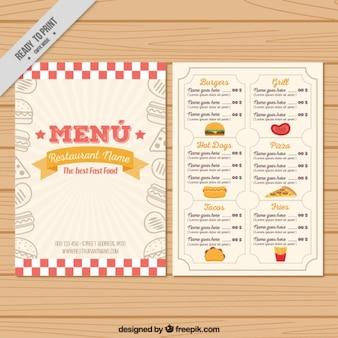 Molde do menu do vintage desenhado mão