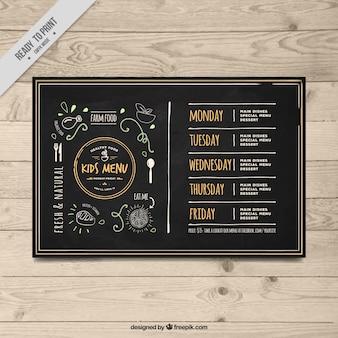 Molde do menu elegante de crianças do vintage