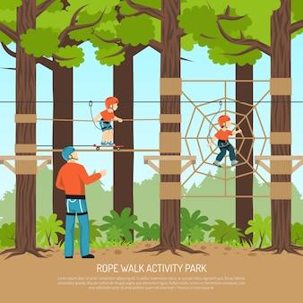 Molde do parque da caminhada da corda