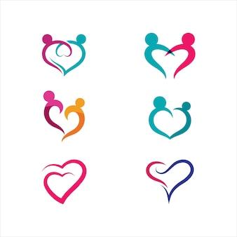 Molde do projeto da ilustração do ícone do vetor do amor da beleza