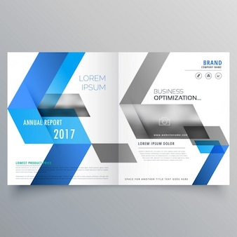 Molde do projeto de página de capa livreto moderno, com formas azuis abstratos