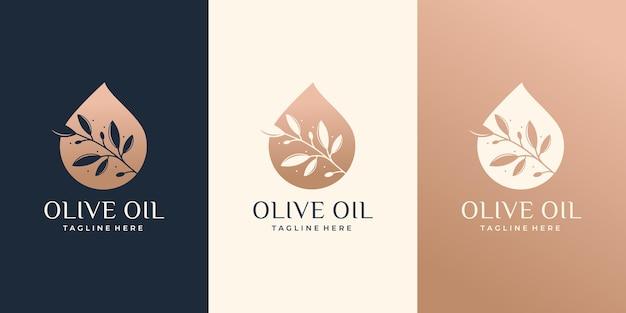 Molde do projeto do azeite. criativo combinado ramo de oliveira com logotipo de óleo essencial. logotipo do azeite.