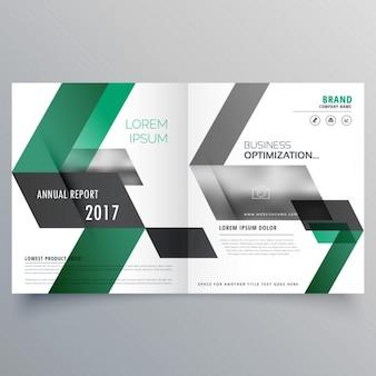 Molde do projeto do folheto do negócio bifold abstrato com formas verde