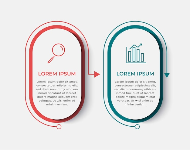 Molde do projeto do infográfico de negócios vector com ícones e 2 duas opções ou etapas. pode ser usado para diagrama de processo, apresentações, layout de fluxo de trabalho, banner, fluxograma, gráfico de informações
