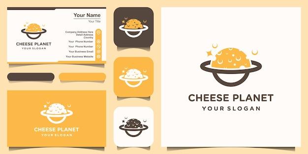 Molde do projeto do logotipo do queijo do planeta. conjunto de logotipo e design de cartão de visita