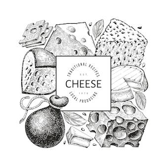 Molde do projeto do queijo. mão-extraídas ilustração de laticínios.