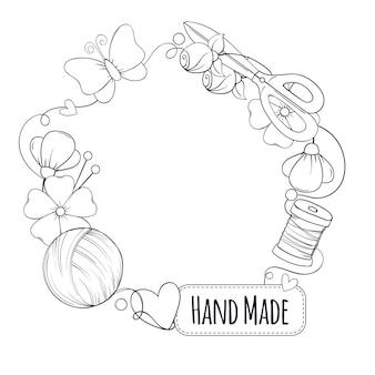 Molde do quadro do círculo para feito à mão, tricô, costura. quadro com atributos de costura e tricô no estilo doodle