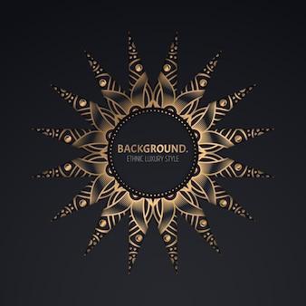 Molde do quadro dourado do círculo ornamental.