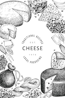 Molde do queijo. mão-extraídas ilustração de laticínios. bandeira de diferentes tipos de queijo de estilo gravado. fundo de comida vintage.