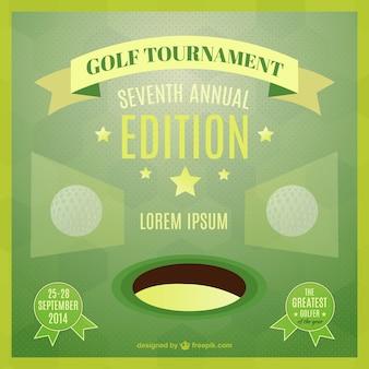 Molde do vetor de golfe poster torneio