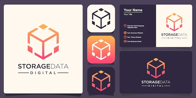Molde do vetor do ícone do logotipo da tecnologia digital do cubo.