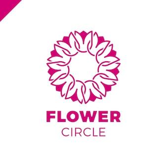 Molde do vetor do projeto do sumário do círculo da flor. ícone tulip spa. cosmética hotel garden beauty salon logotype conceito.