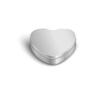 Molde e maquete de uma caixa de metal realista em forma de coração
