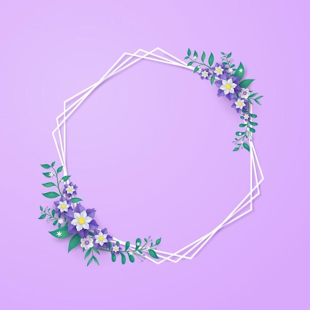 Molde e quadro da flor no conceito do corte do papel.