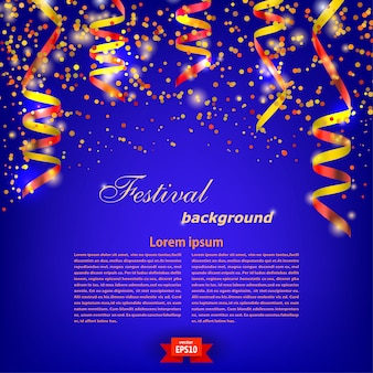 Molde festivo azul do fundo com a serpentina vermelha brilhante. festival. ilustração vetorial