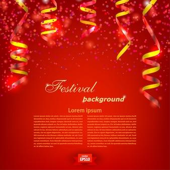Molde festivo vermelho do fundo com a serpentina vermelha brilhante. festival. ilustração vetorial