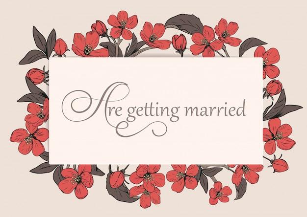 Molde floral do cartão do convite do casamento com texto.