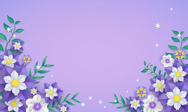Molde floral e da flor do quadro no conceito da arte do papel de vetor.