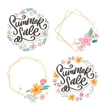Molde floral moderno. flores de verão e ilustração de letras de venda de verão.