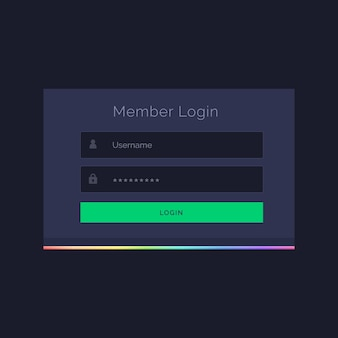 Molde form design vector escuro membro de login